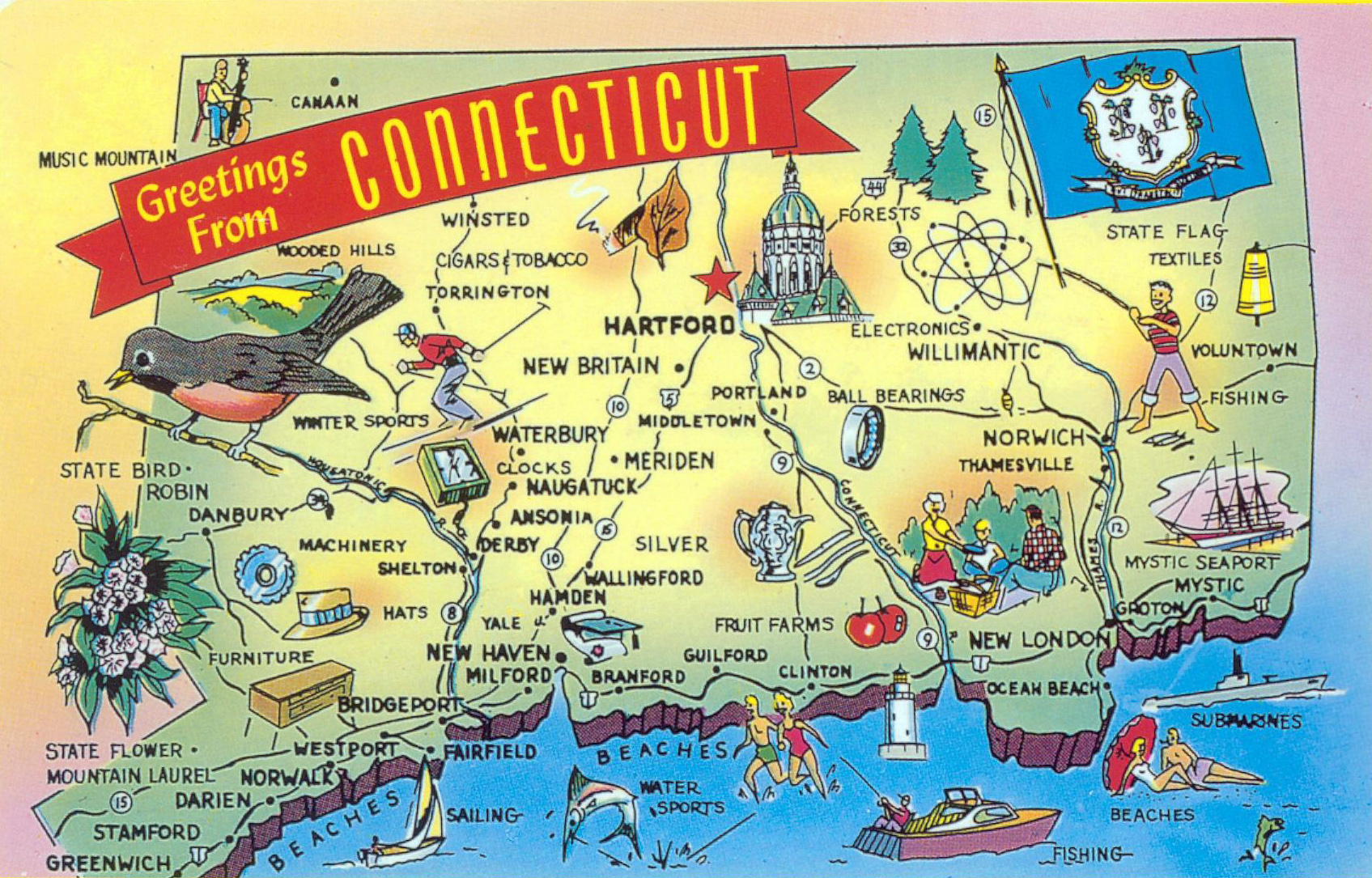 Large tourist illustrated map of Connecticut state | Connecticut