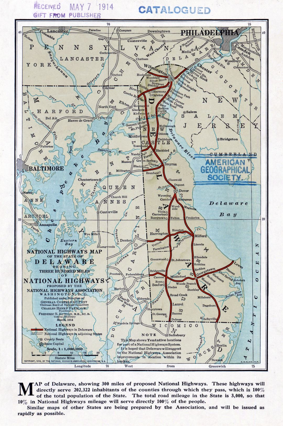Detailed National Highways Association old map of the state of Delaware - 1914