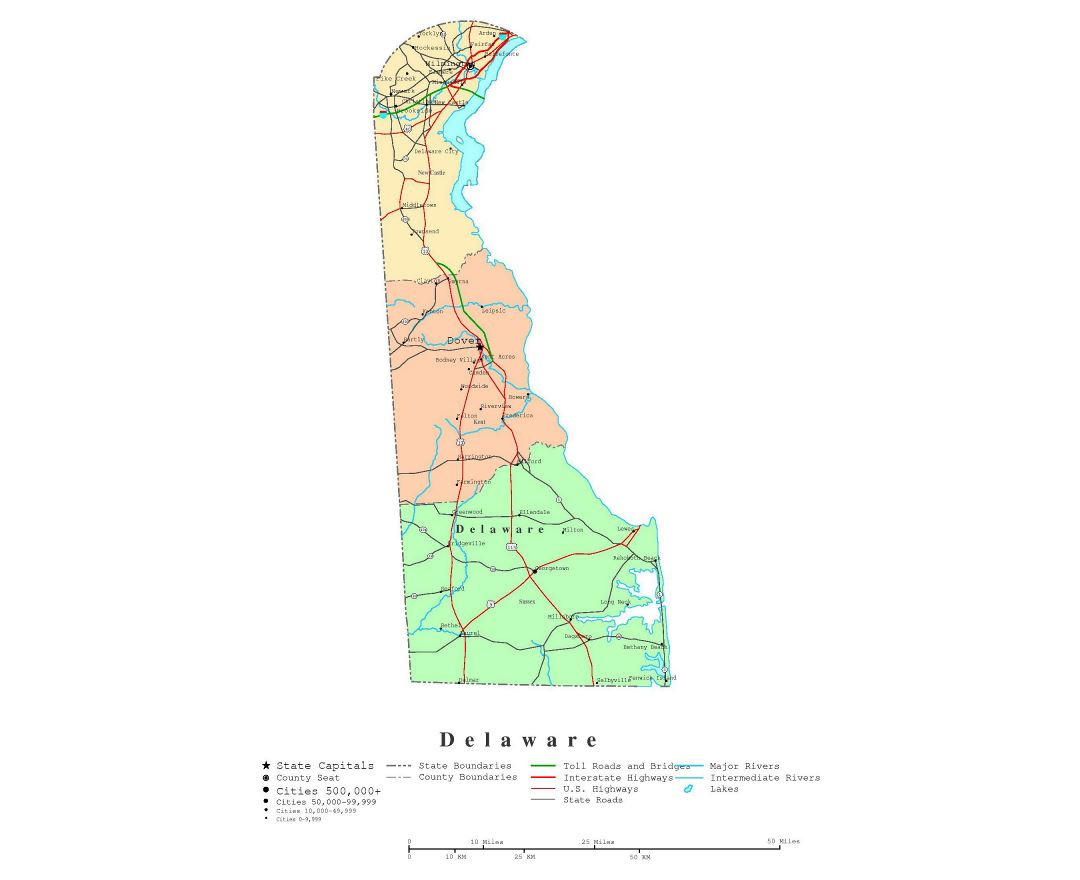 Large detailed administrative map of Delaware state with roads, highways and cities