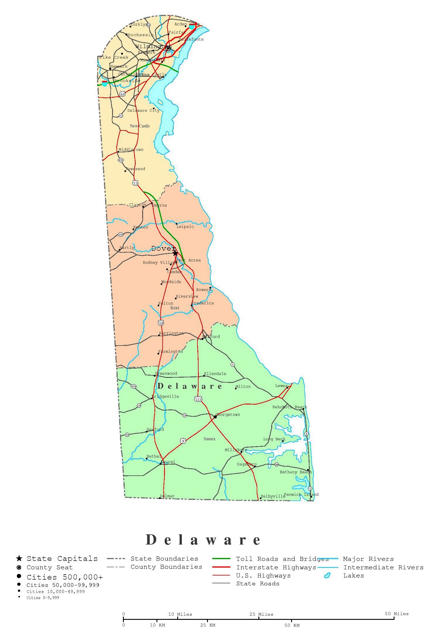 Large Detailed Administrative Map Of Delaware State With Roads - Delaware cities map