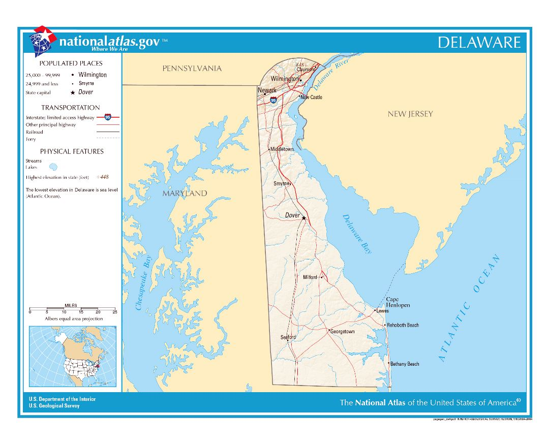 Large detailed map of Delaware state