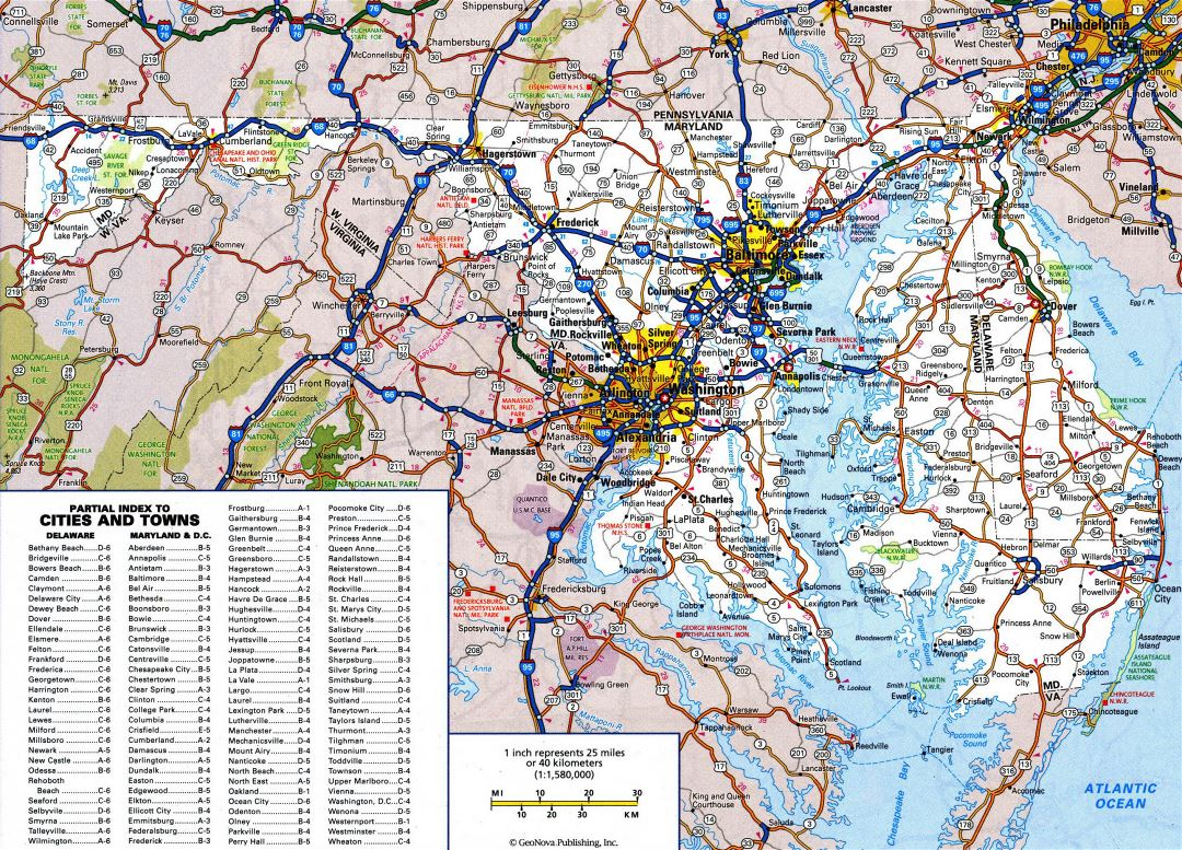 Large detailed roads and highways map of Delaware and Maryland states with all cities
