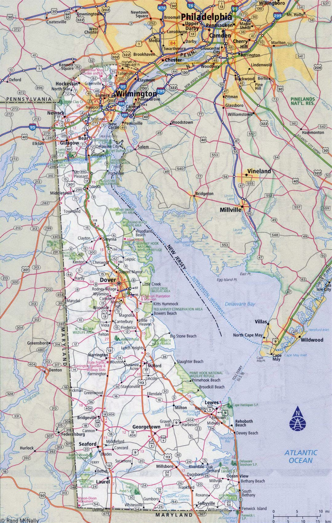 Large detailed roads and highways map of Delaware state with all cities