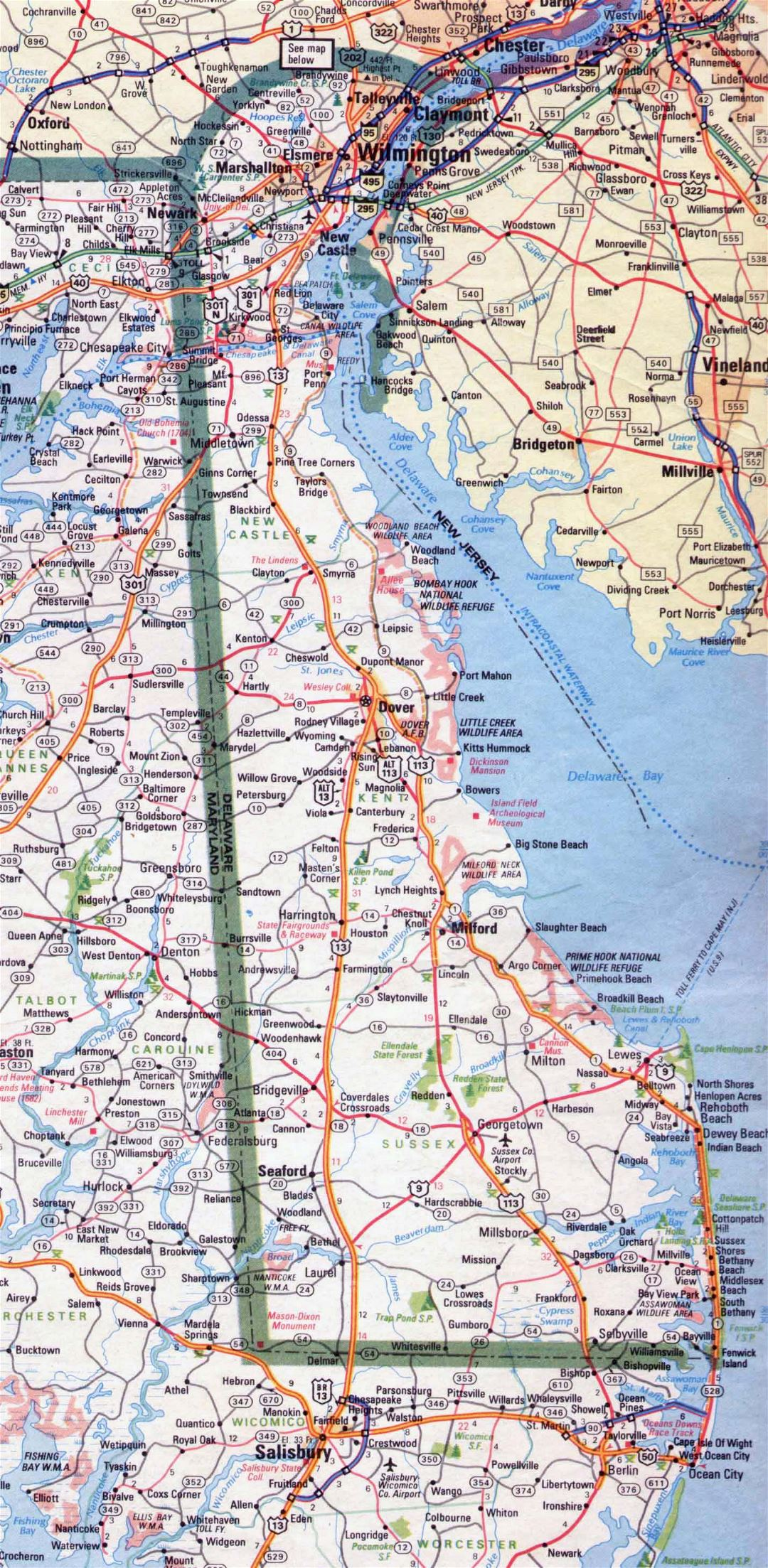 Large roads and highways map of Delaware state - 1983