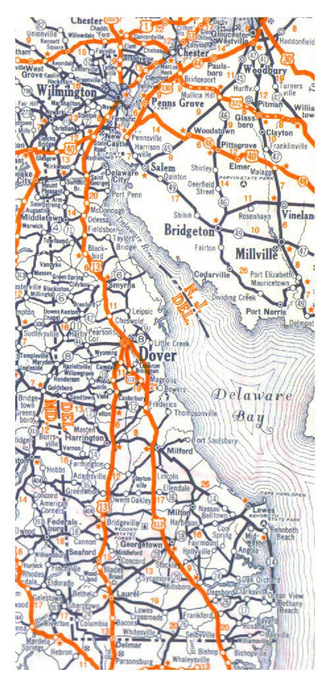 Roads and highways map of Delaware state - 1938