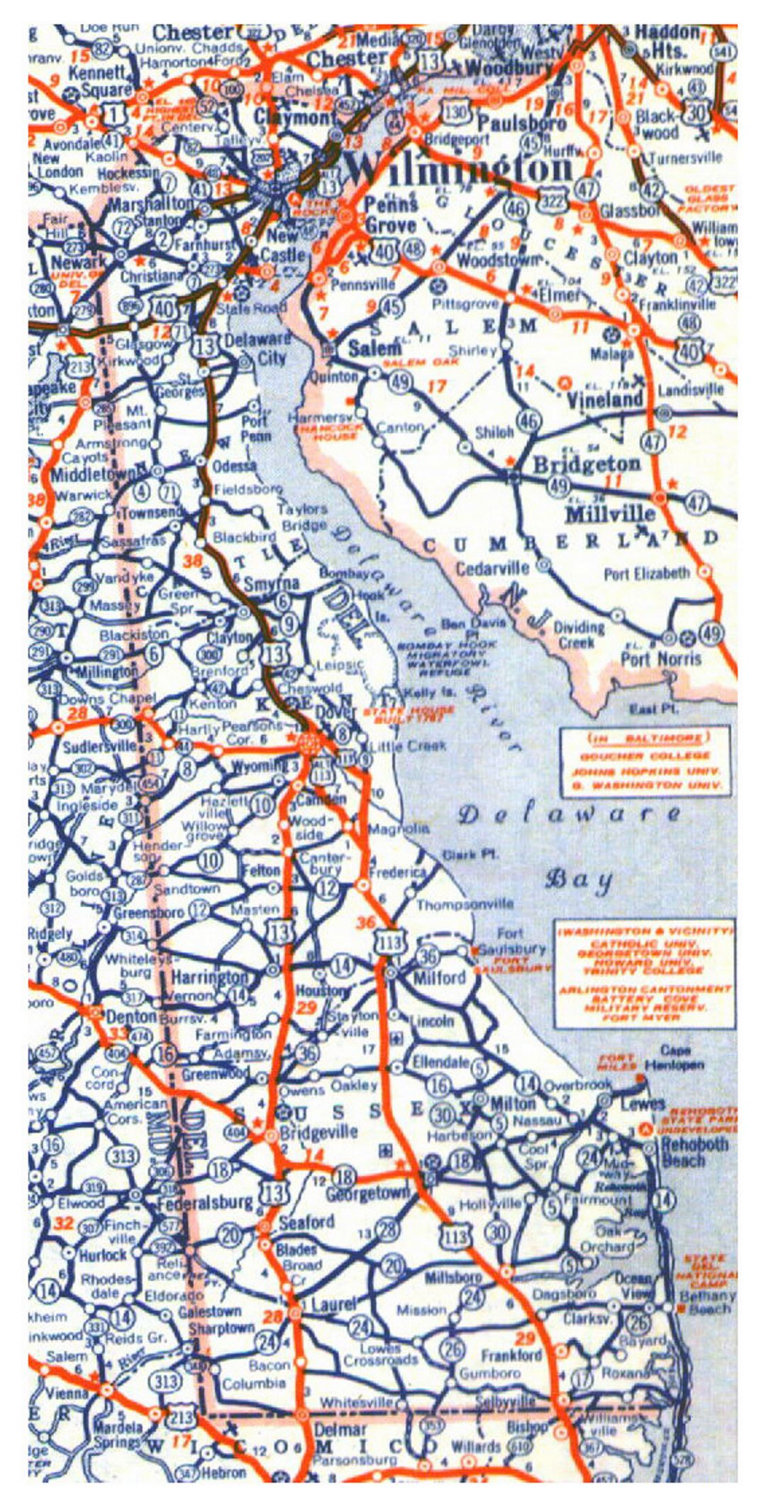 Roads and highways map of Delaware state - 1944