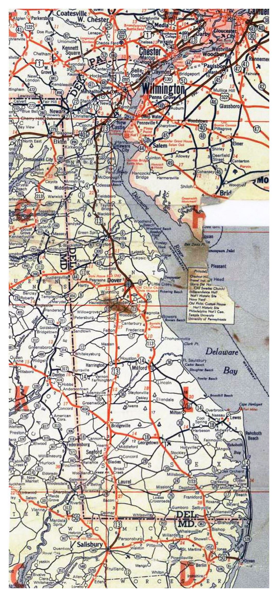 Roads and highways map of Delaware state - 1951
