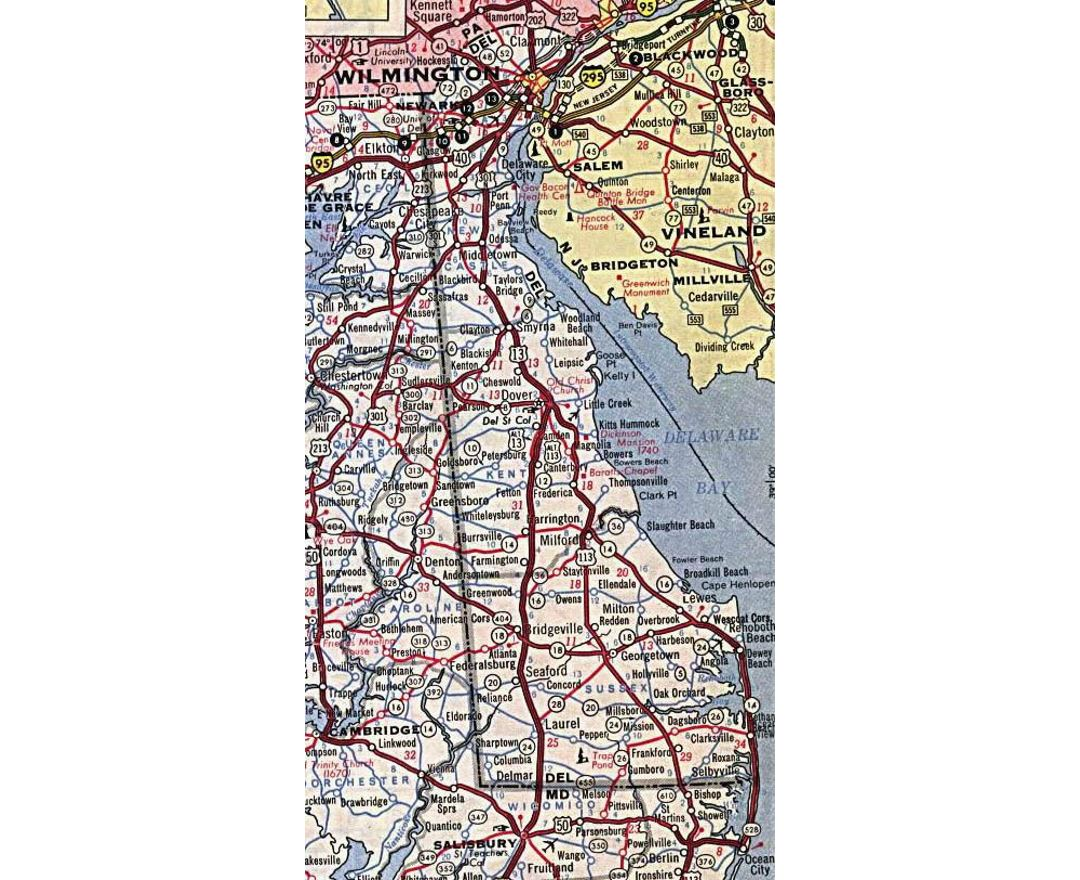 Roads and highways map of Delaware state - 1964