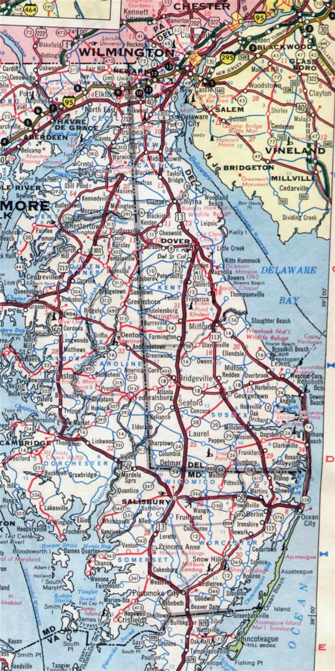 Roads and highways map of Delaware state - 1968