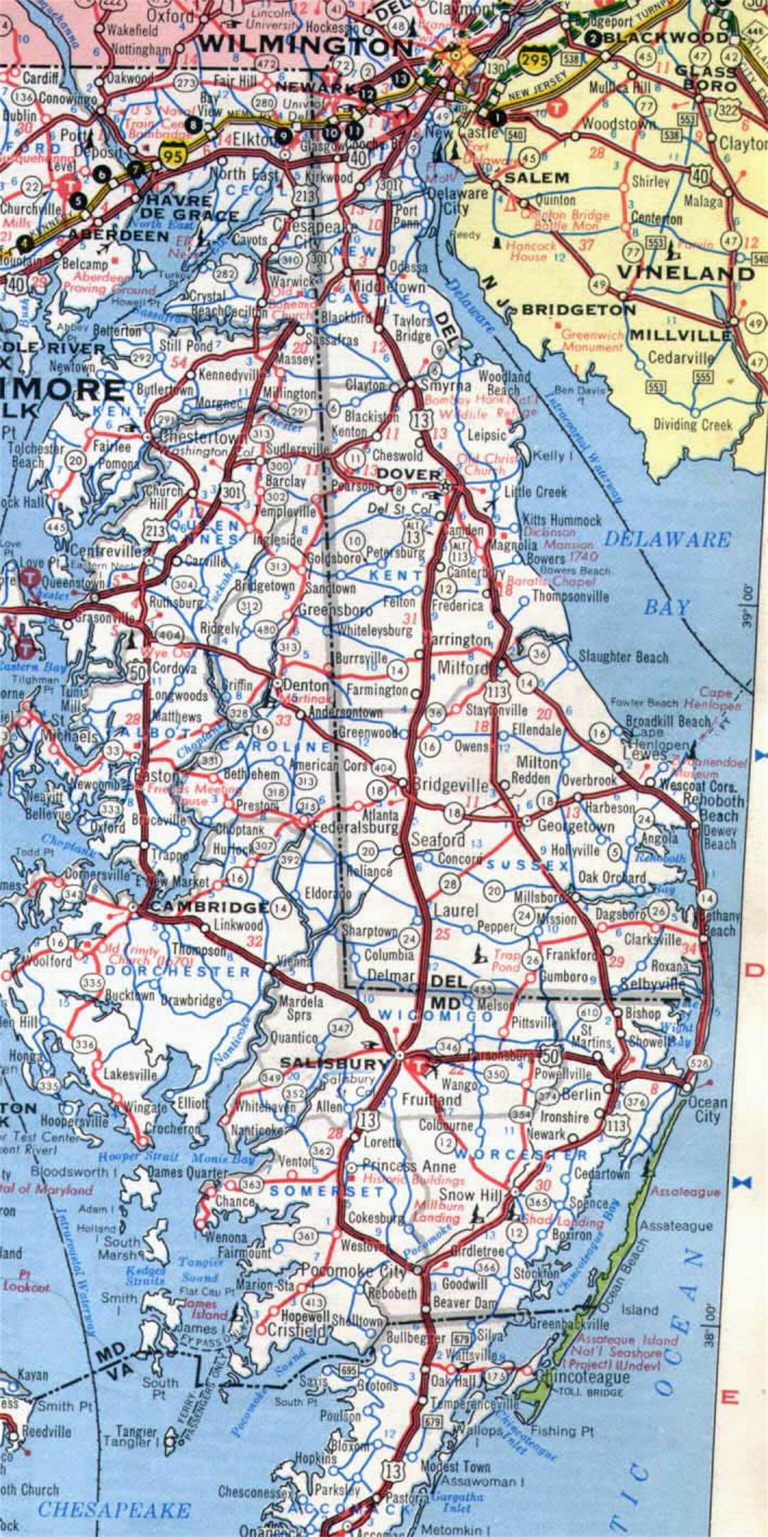 Roads and highways map of Delaware state - 1971 | Delaware