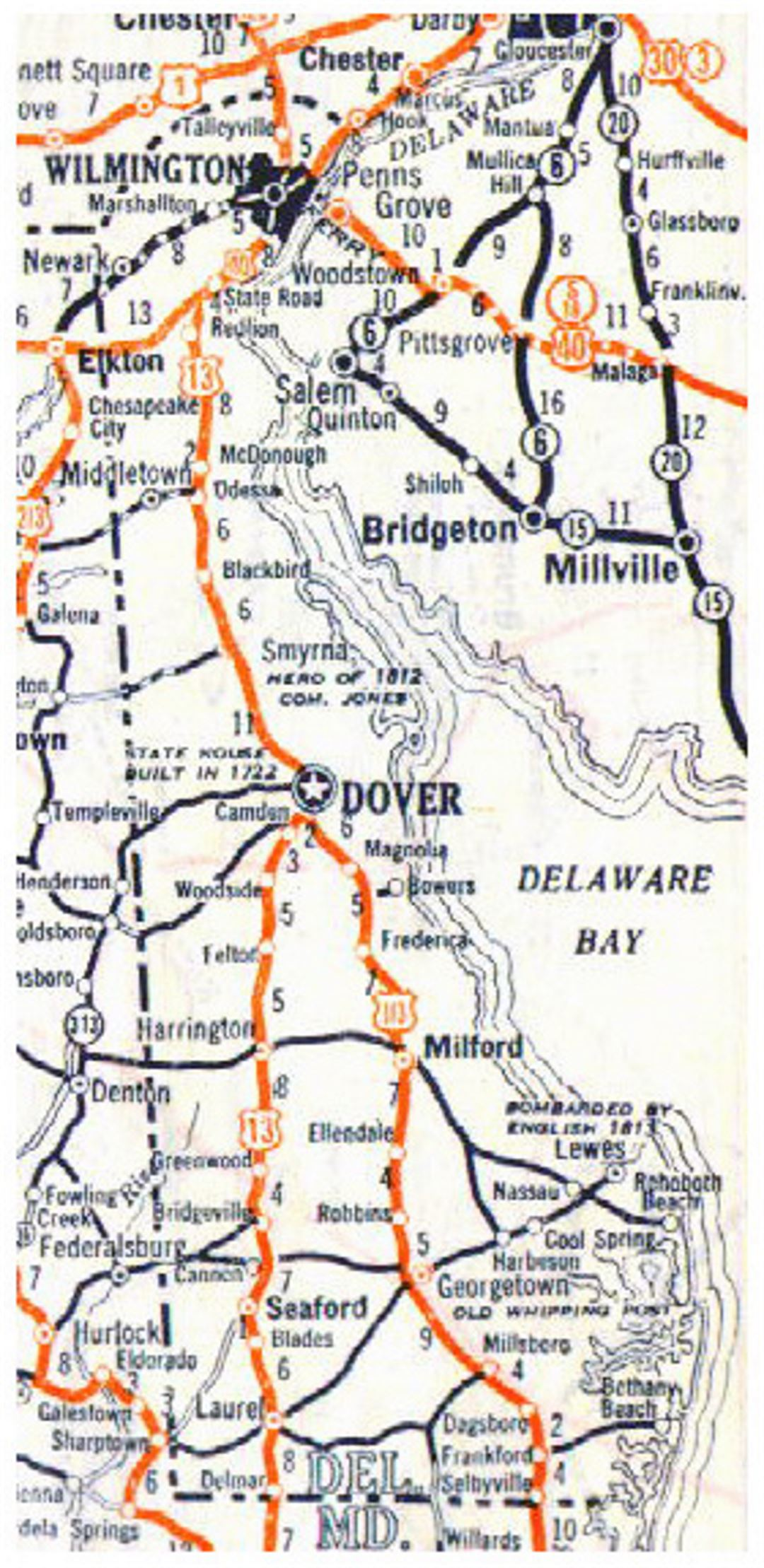 Small roads and highways map of Delaware state - 1928