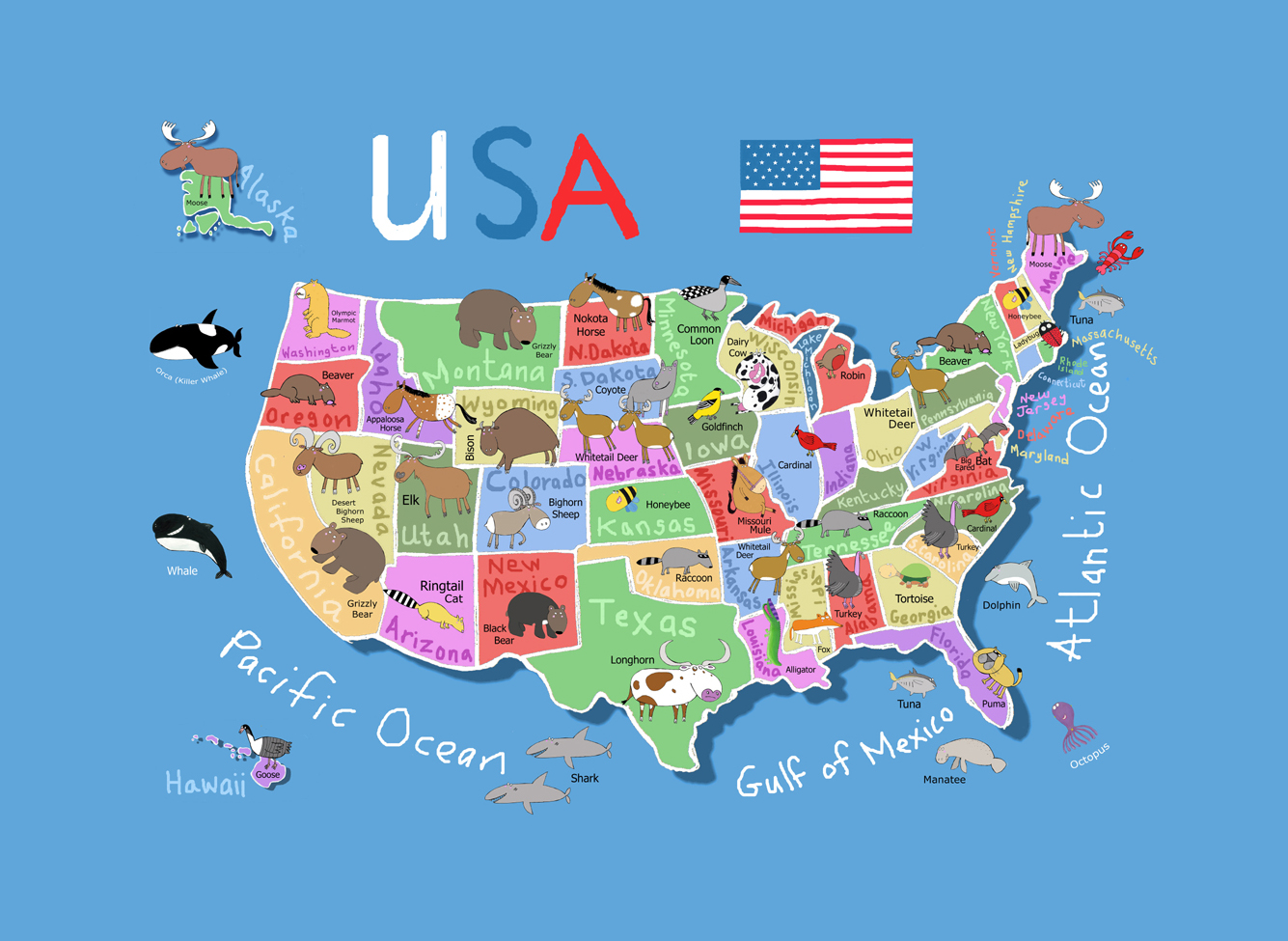 Detailed cartoon map of the USA | USA | Maps of the USA ...