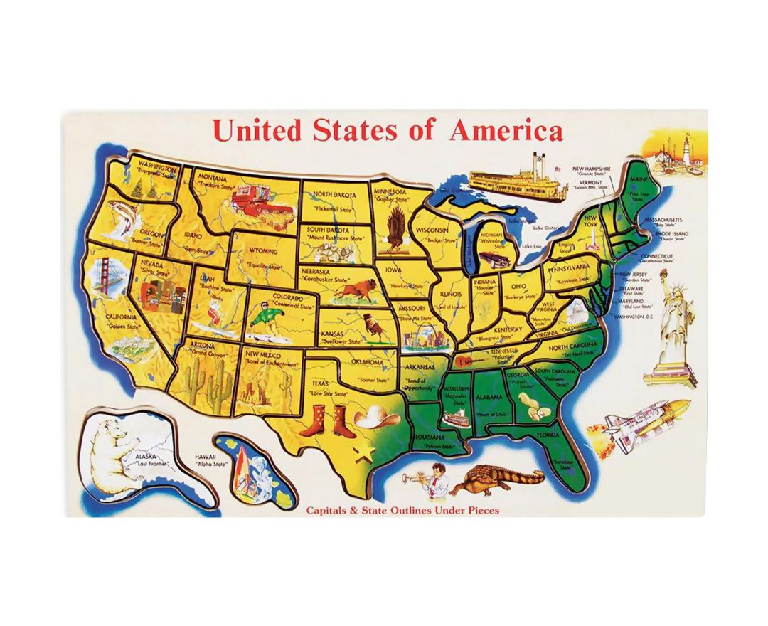Detailed illustrated map of the U.S.A.