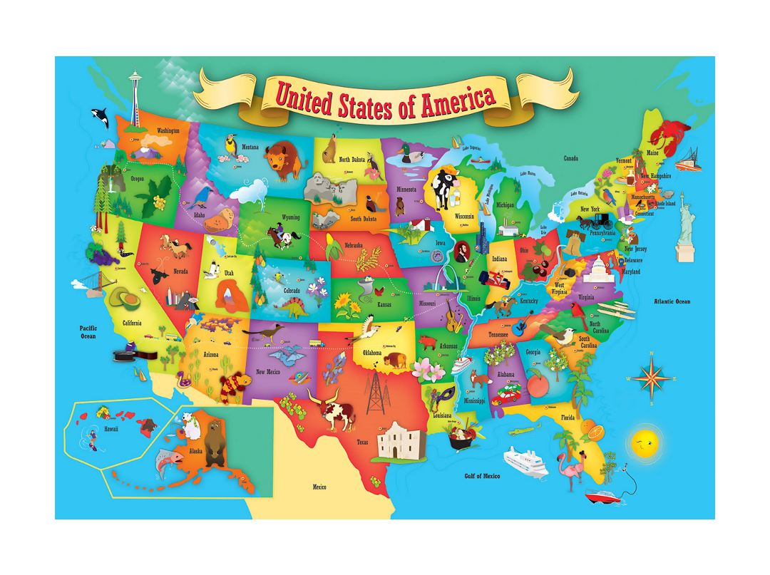 Detailed kids illustrated map of the USA