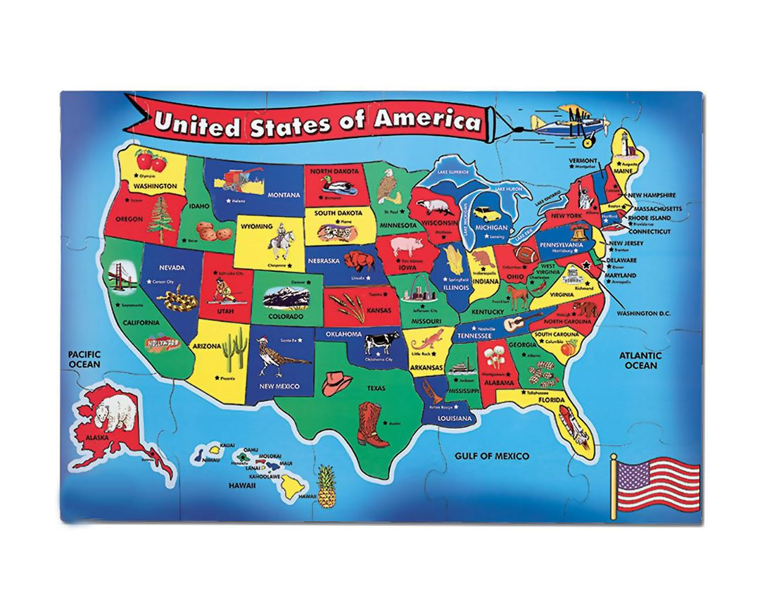 Detailed kids major tourist attractions map of the USA