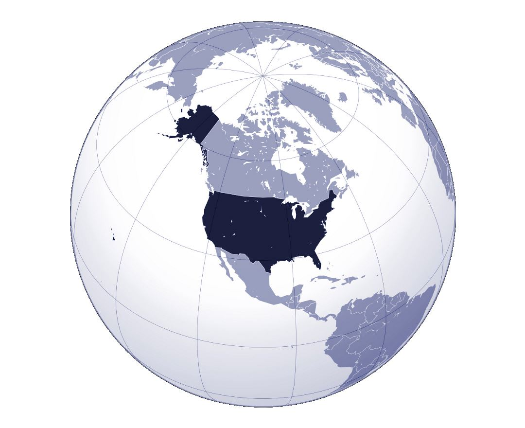 Detailed location map of the United States