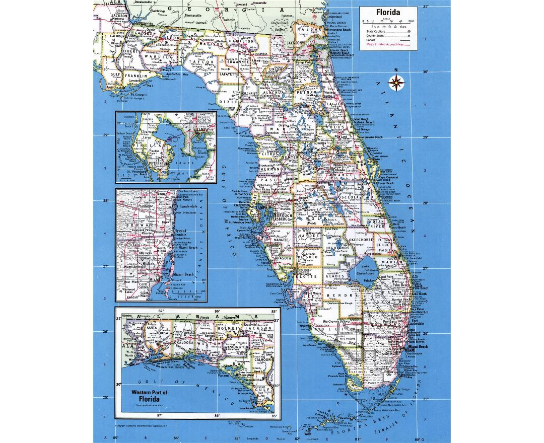 large administrative map of florida state with major cities
