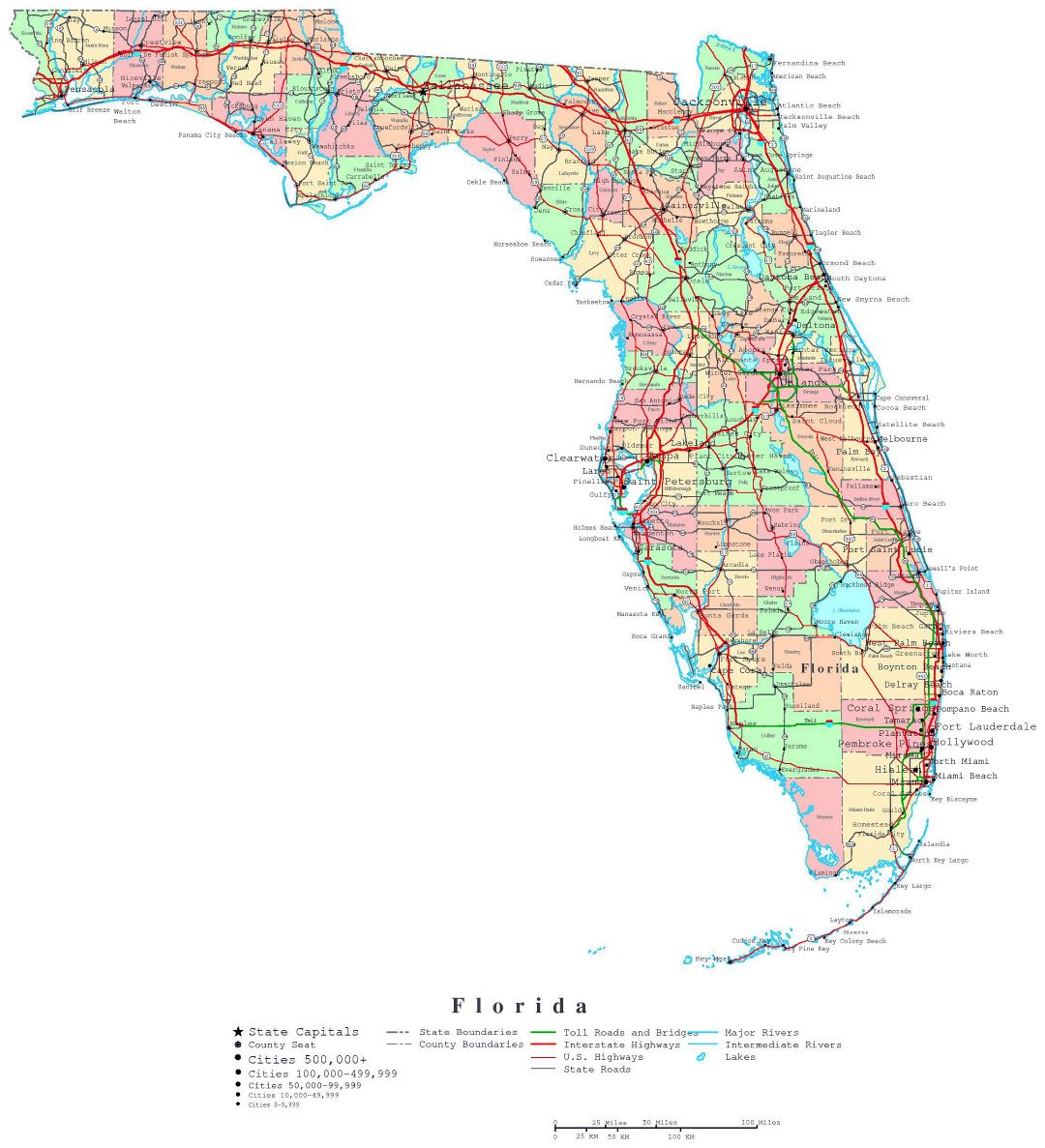 Large detailed administrative map of Florida state with roads, highways and cities
