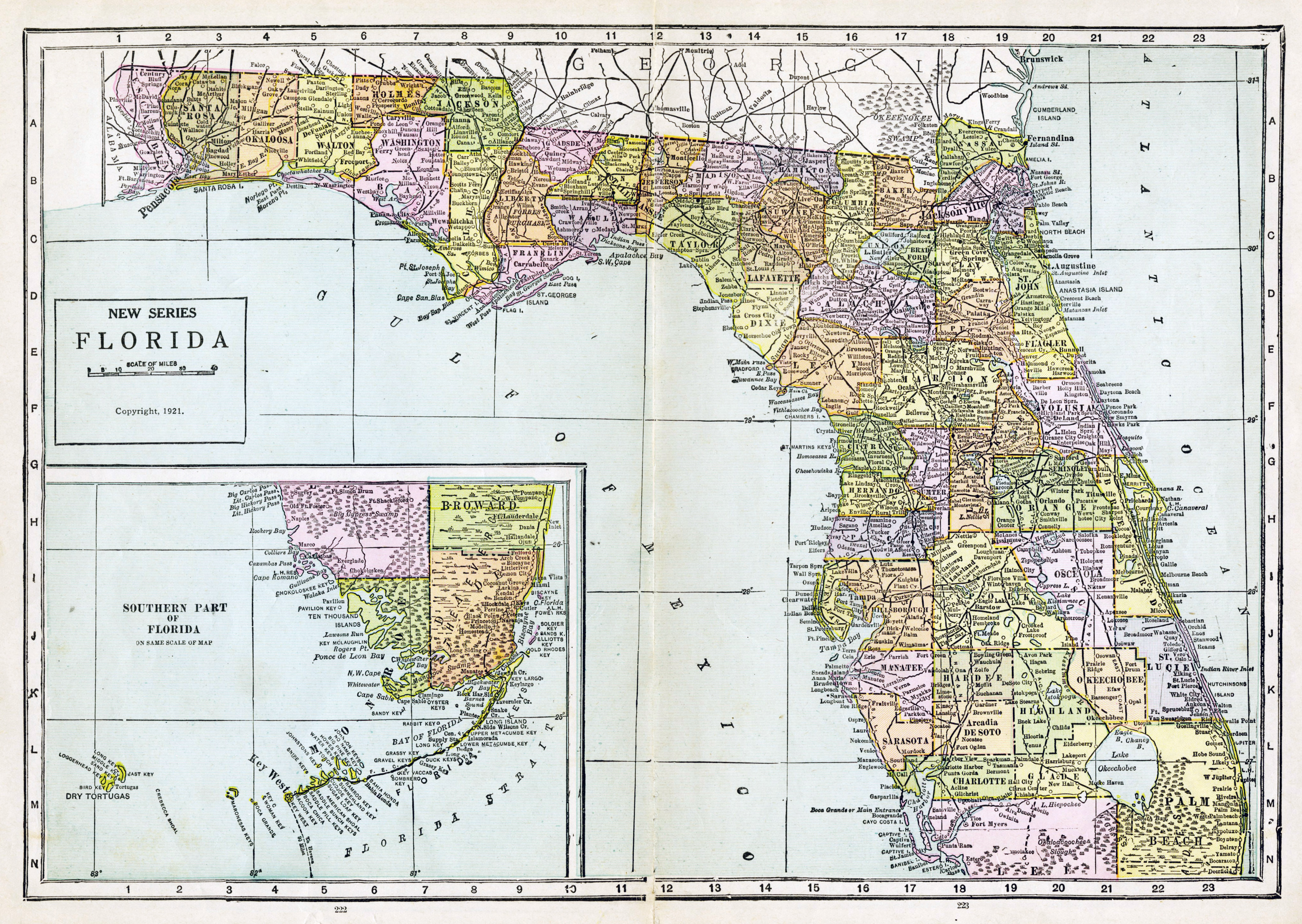 Large detailed old administrative map of Florida with roads ...