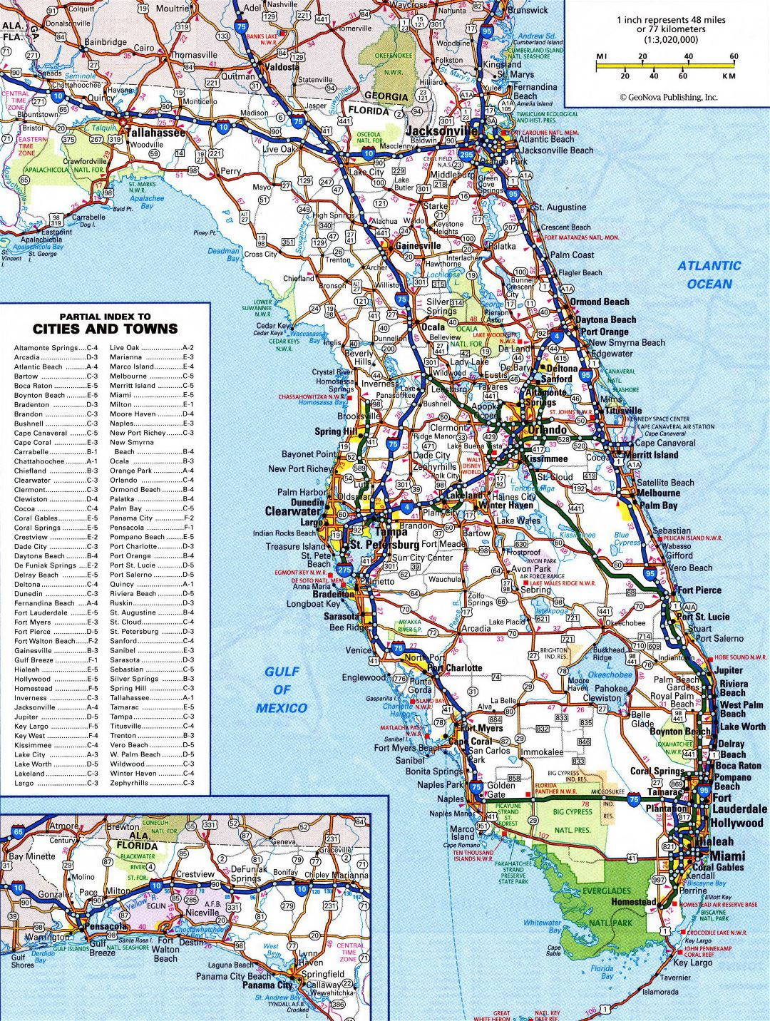 Large detailed roads and highways map of Florida state with all cities and national parks
