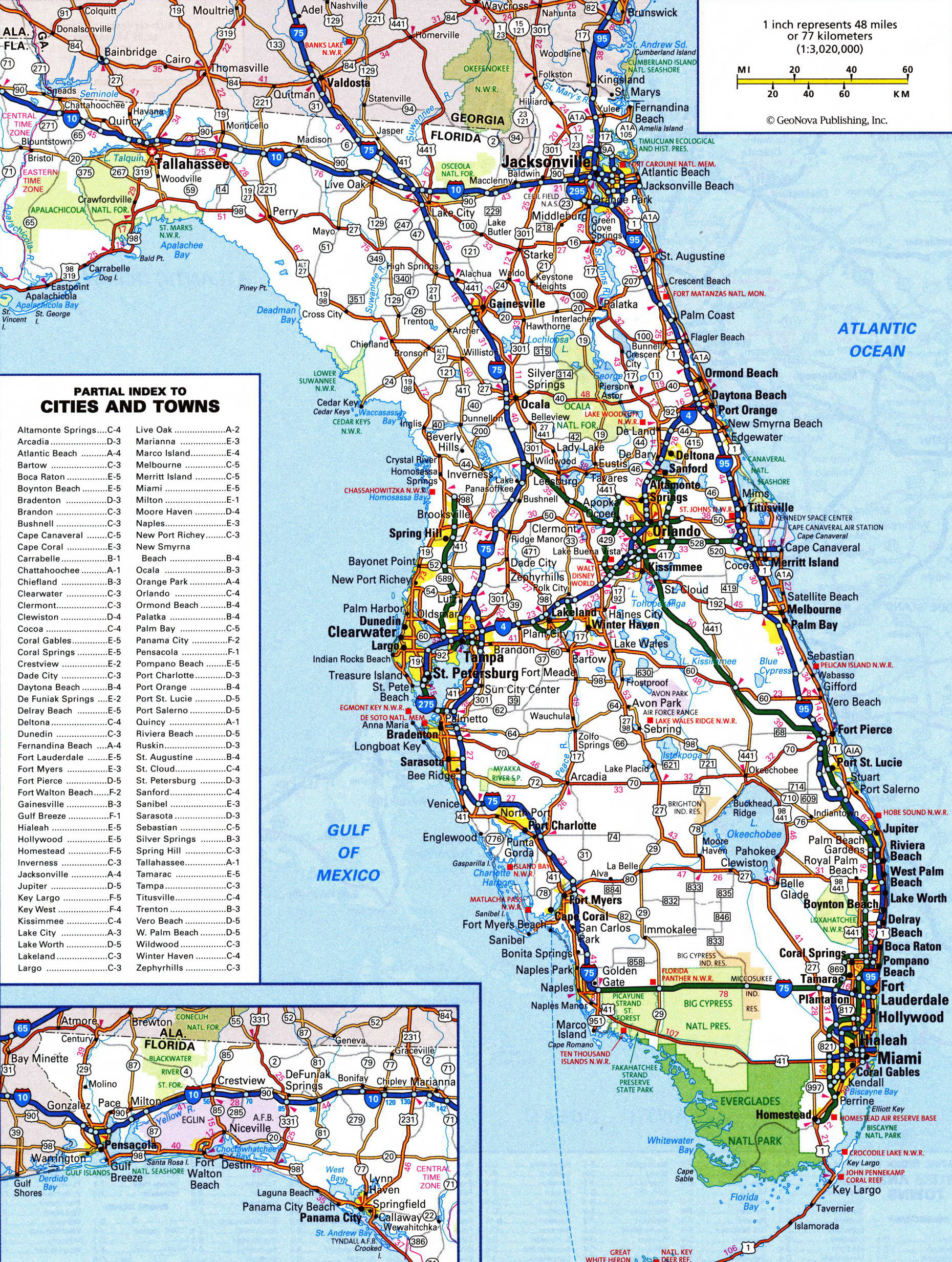 Large Detailed Roads And Highways Map Of Florida State With All - Usa map with cities and states detailed