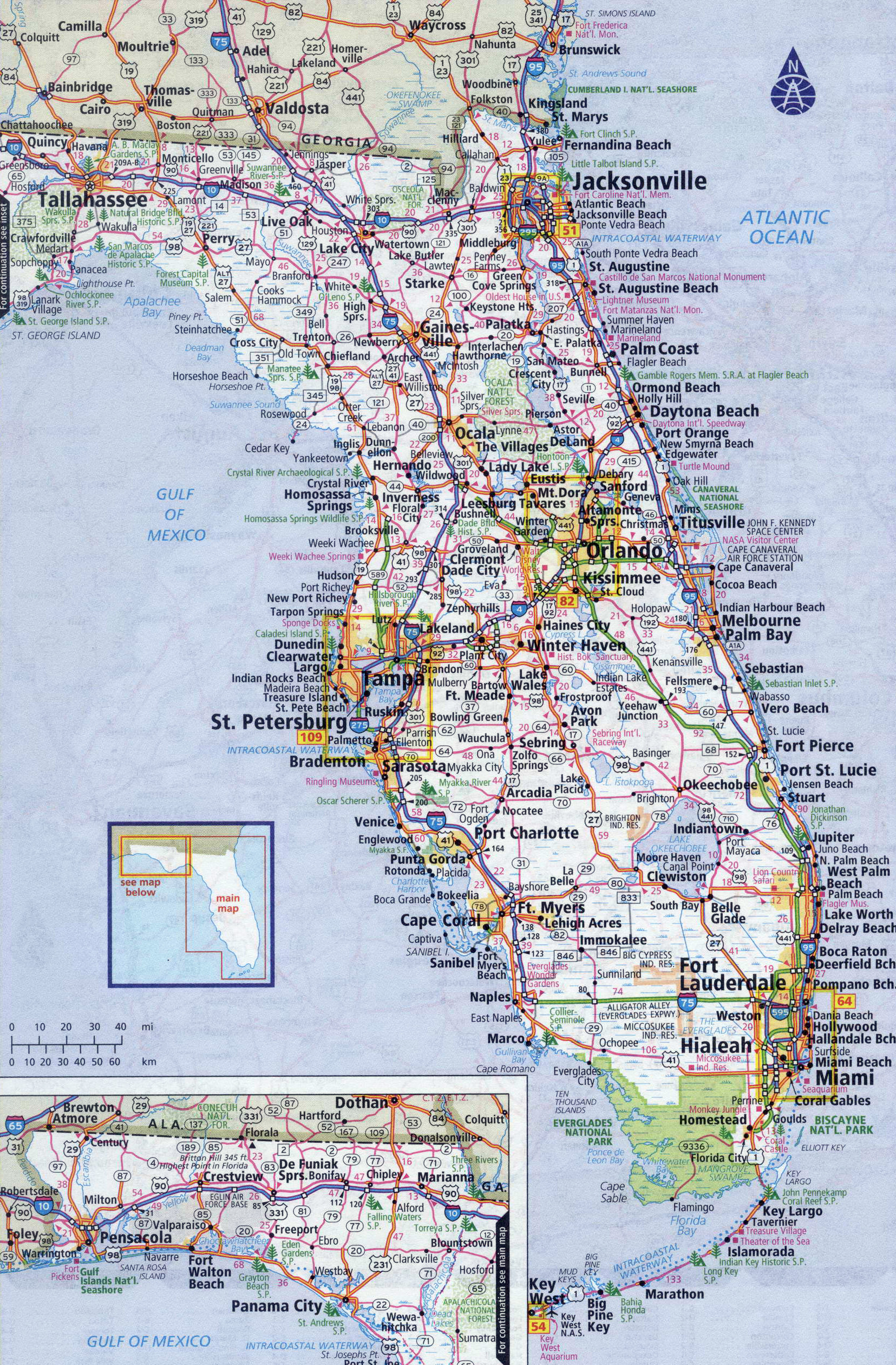 large detailed roads and highways map of florida state with all cities