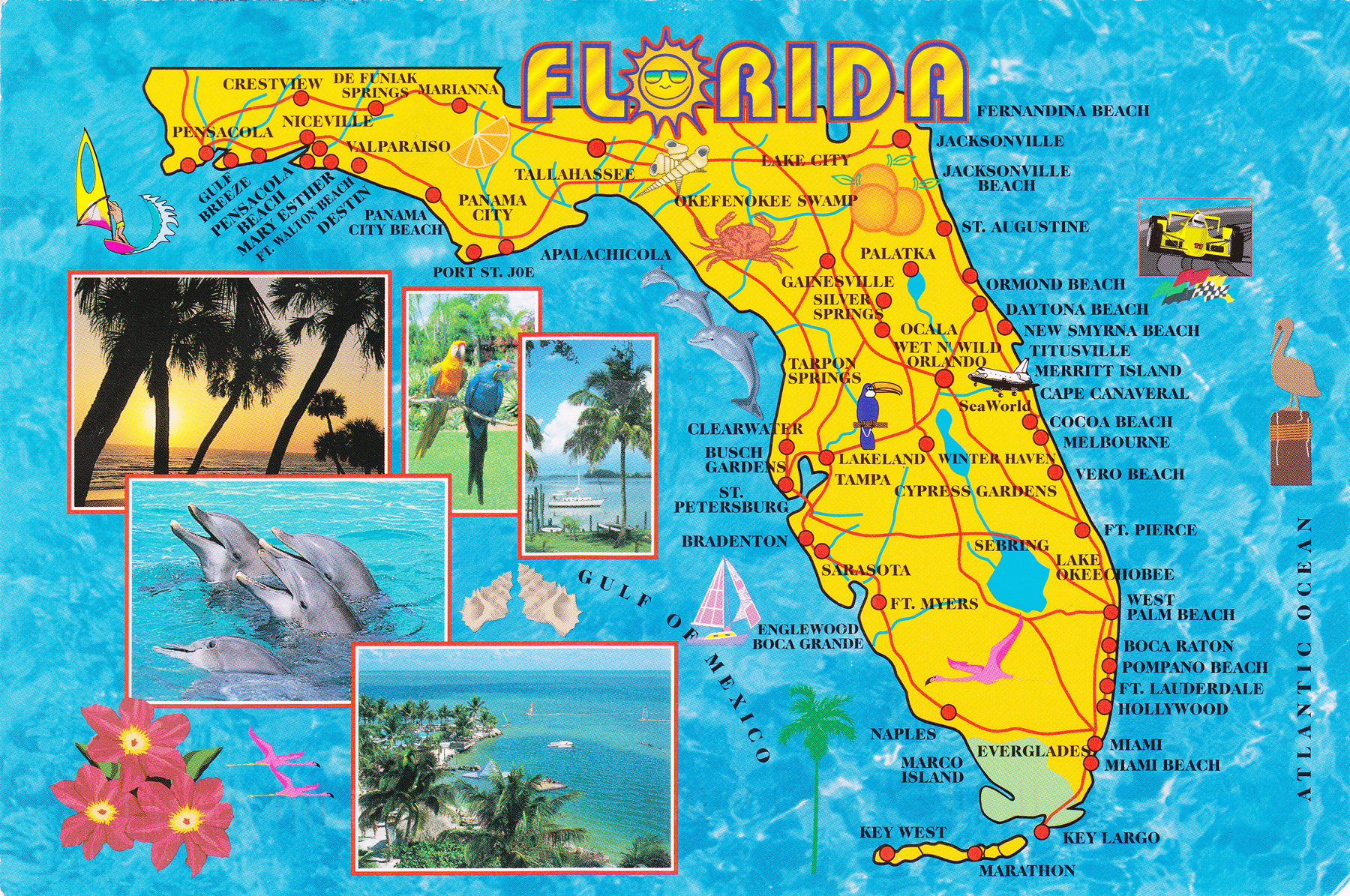 Large detailed tourist map of Florida state | Florida state ...