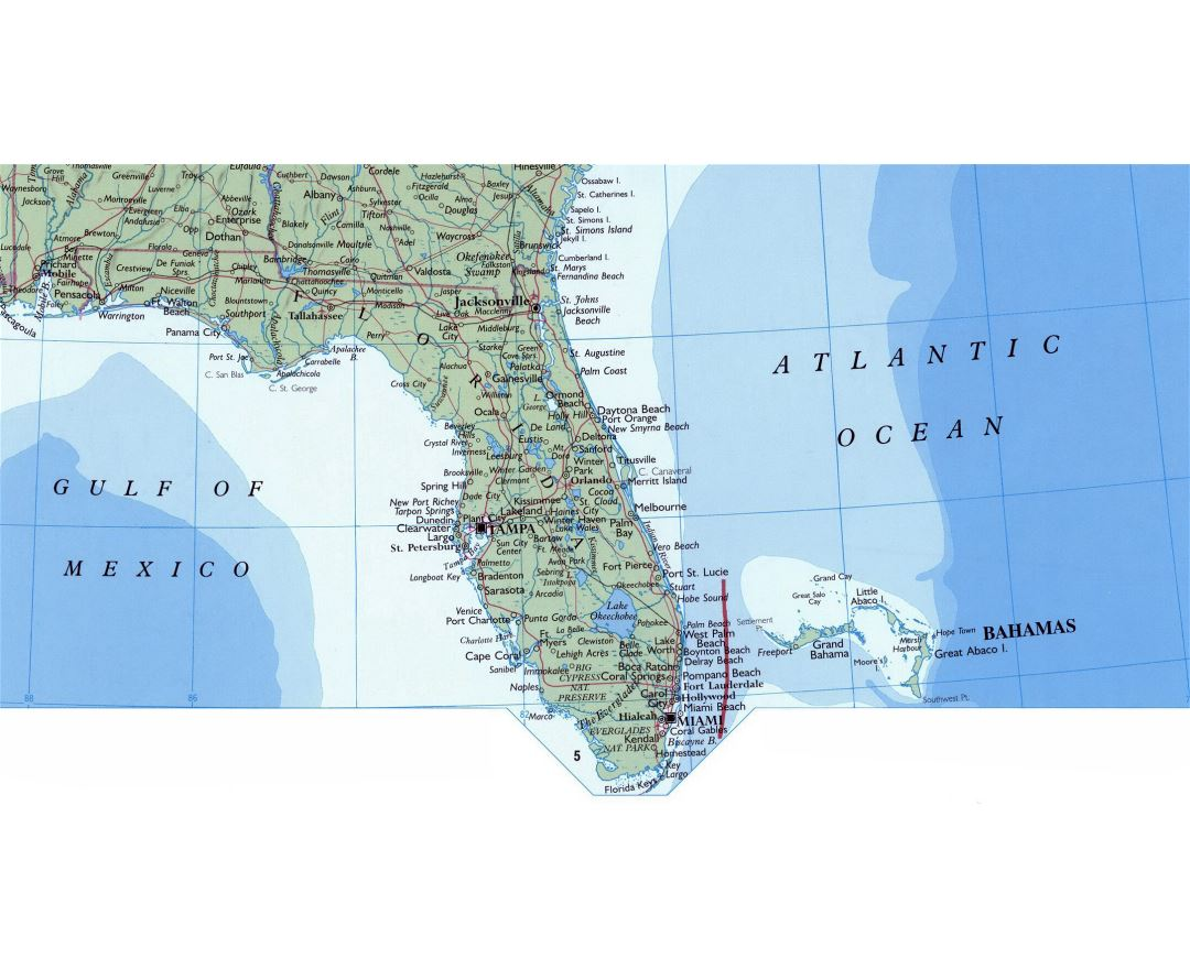 Map Of Florida In The USA Showing Some Cities Full Size Florida - Florida in map of usa