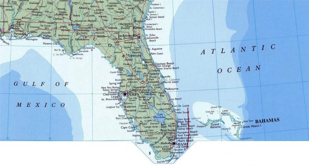 Large map of Florida state with roads, highways and cities