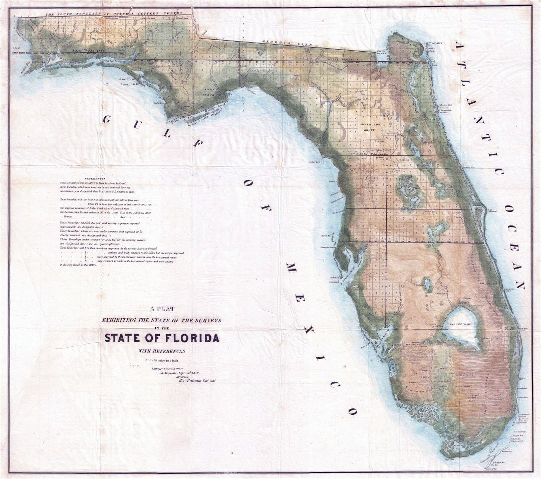 Large scale old land survey map of Florida state - 1848