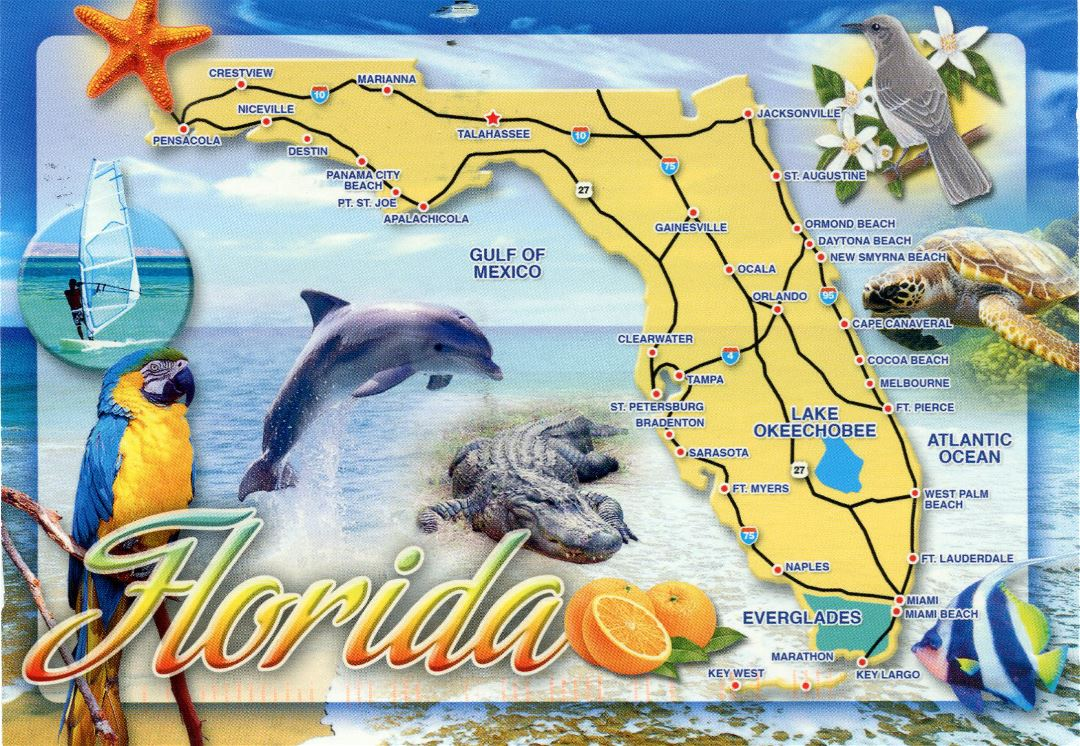 Large tourist map of Florida state