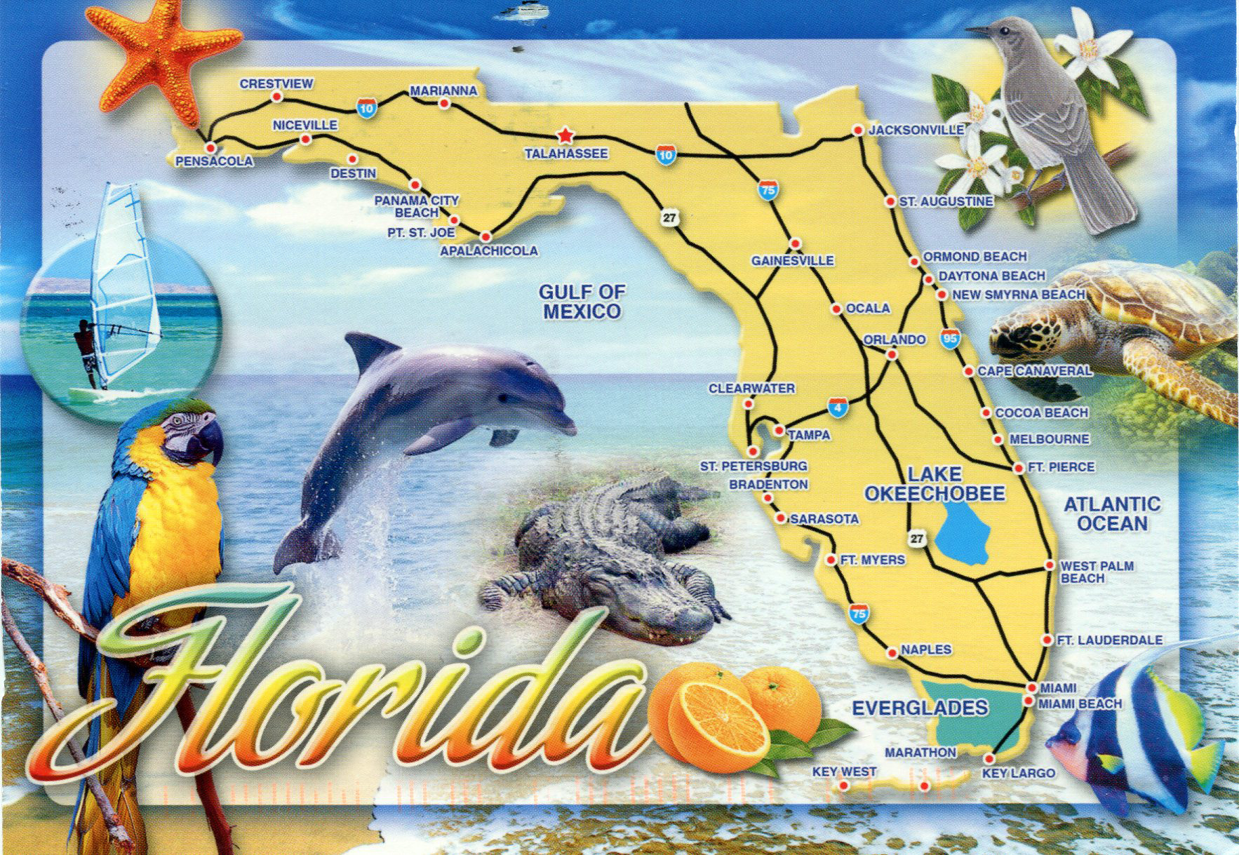 Tourist Map Of Florida.Large Tourist Map Of Florida State Florida State Usa Maps Of
