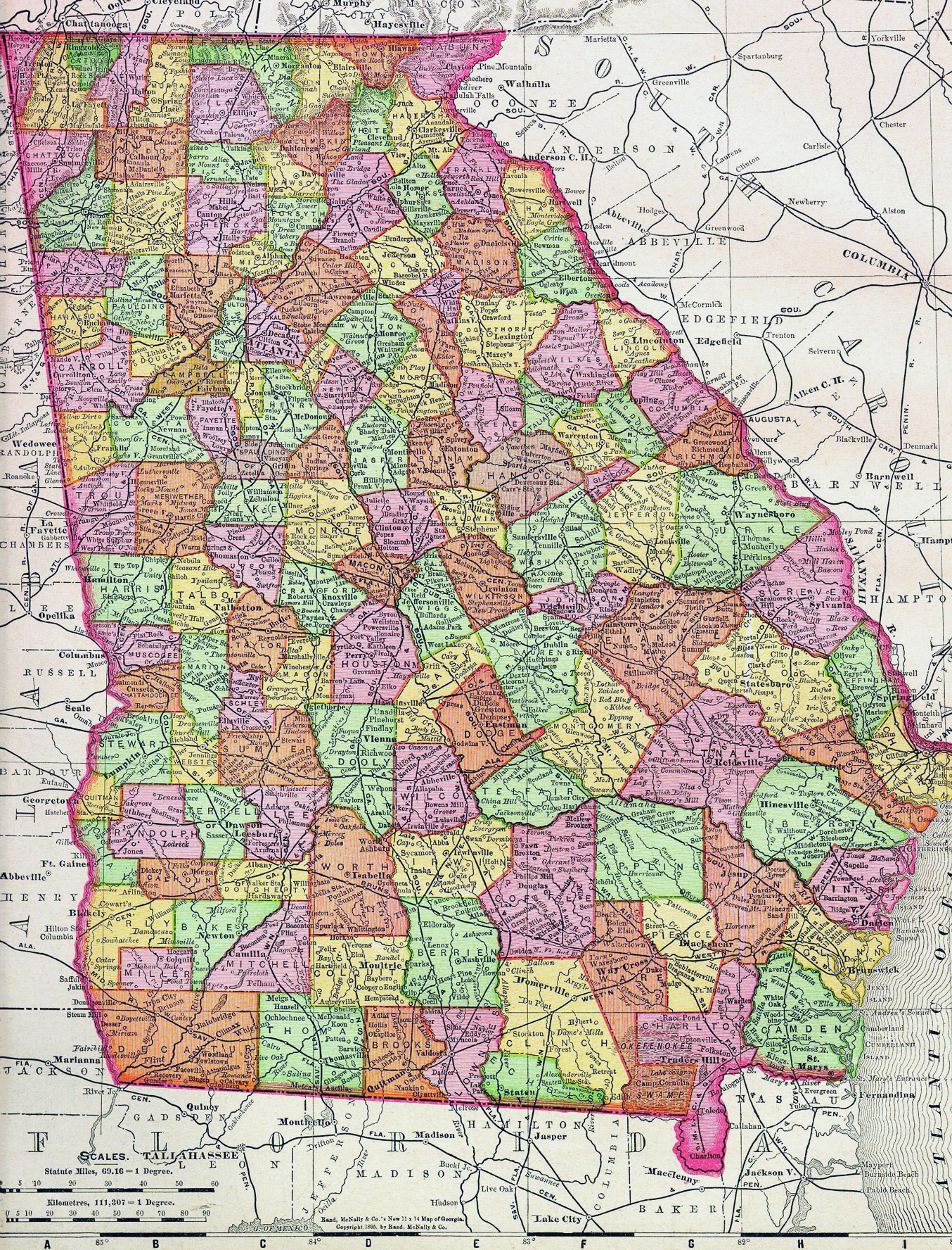 Map Of Usa Georgia.Detailed Old Administrative Map Of Georgia State With Roads And