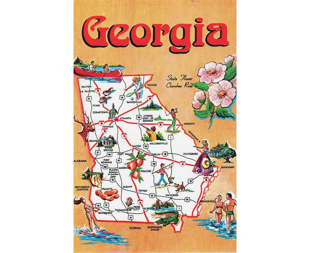 Maps of Georgia state – Georgia Tourist Map
