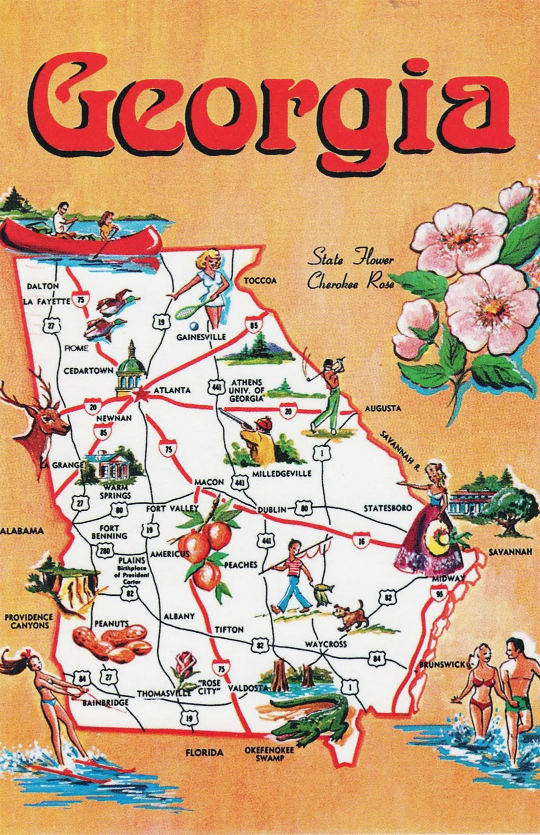 Detailed Tourist Illustrated Map Of Georgia State Georgia State - Us map with georgia