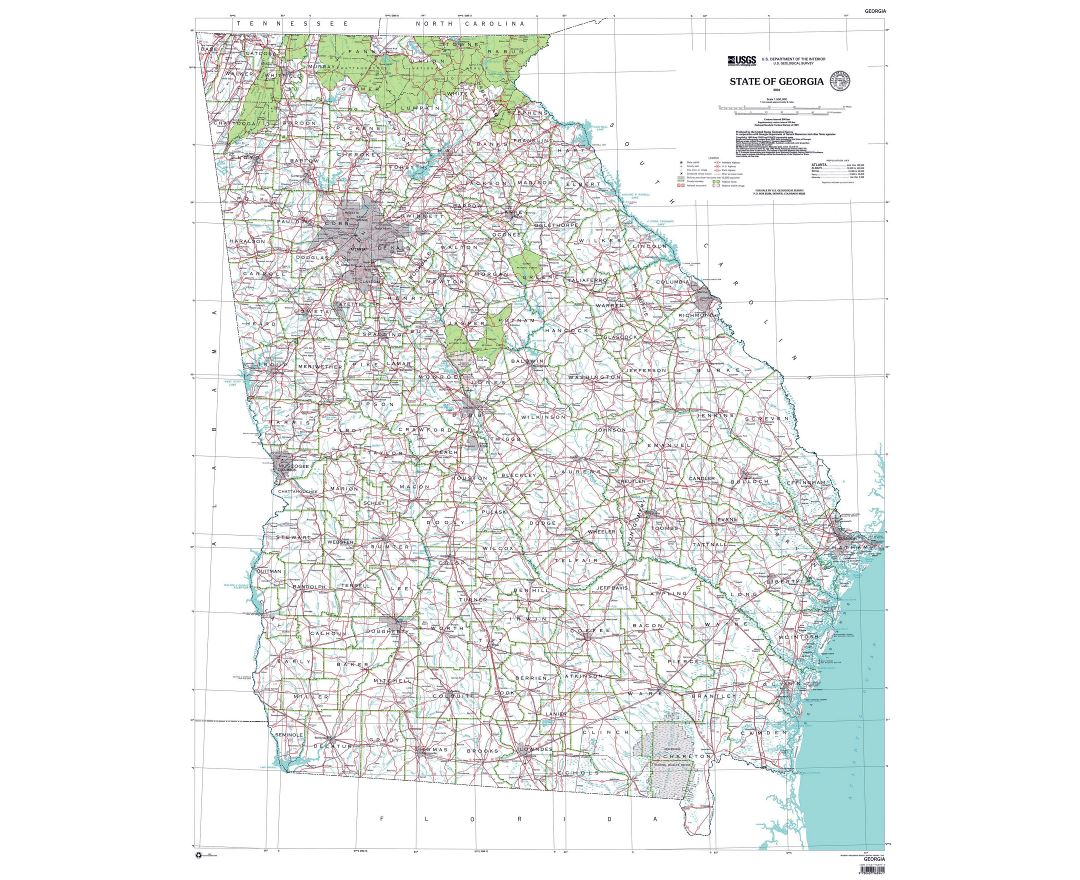 Large administrative map of Georgia state
