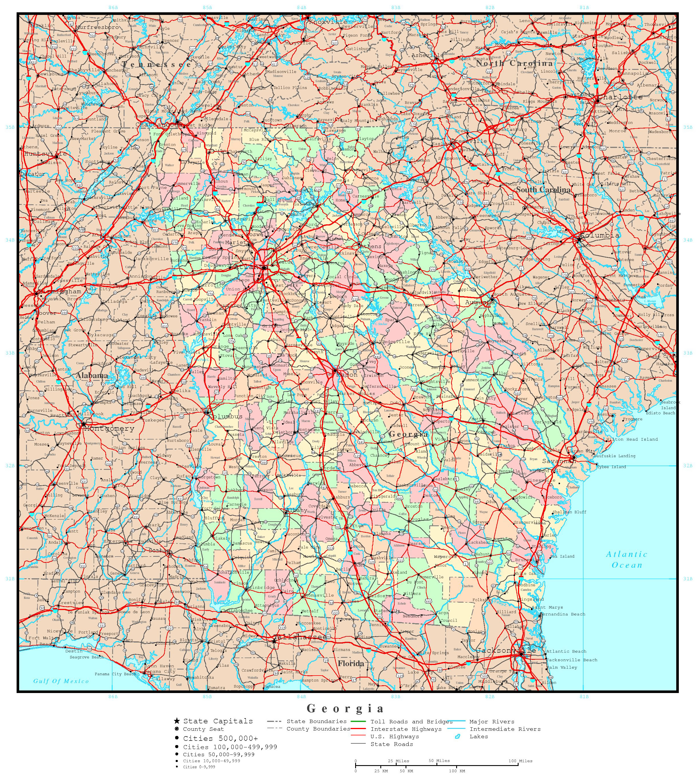 Large administrative map of Georgia state with roads highways and