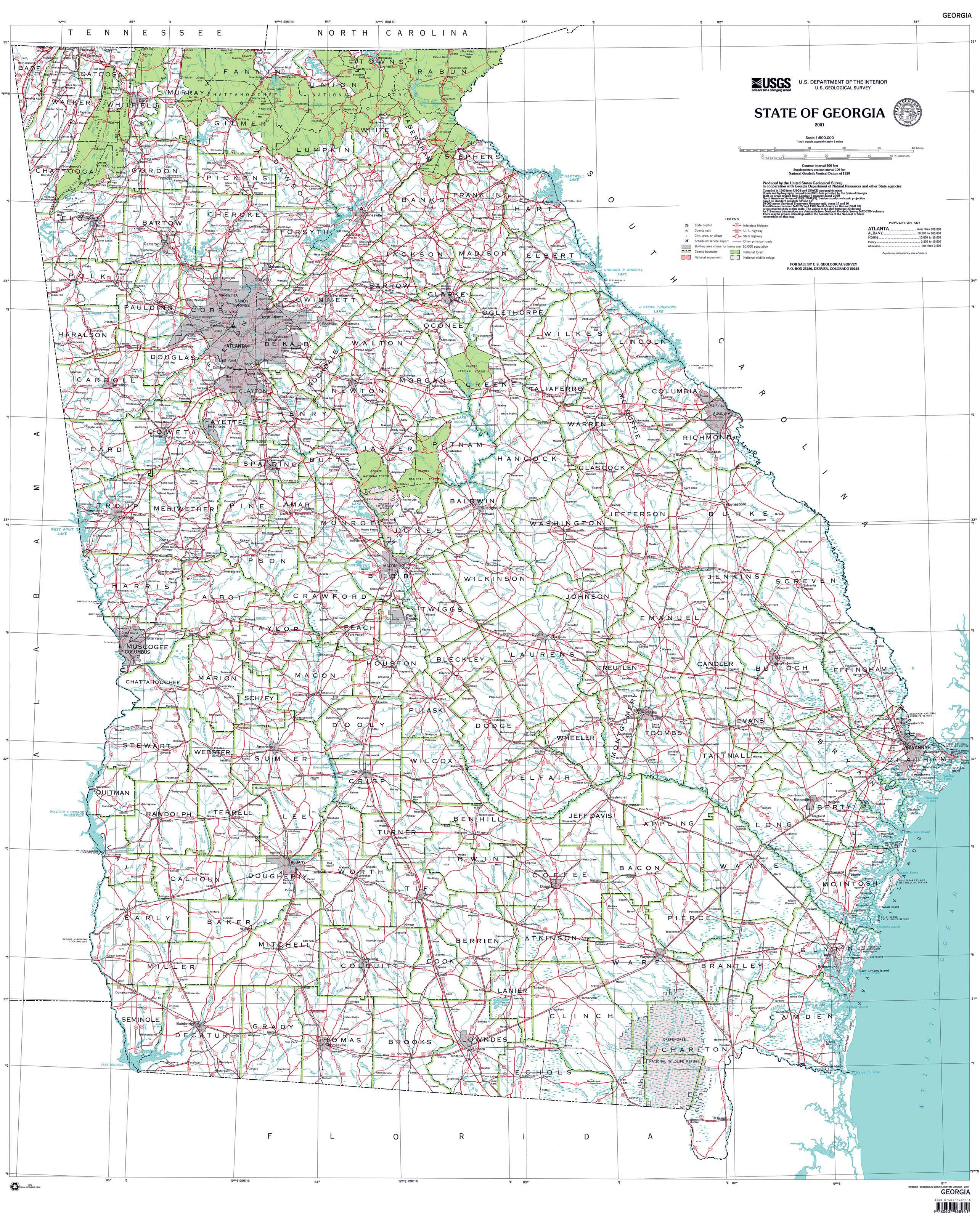 Large Administrative Map Of Georgia State Georgia State Usa