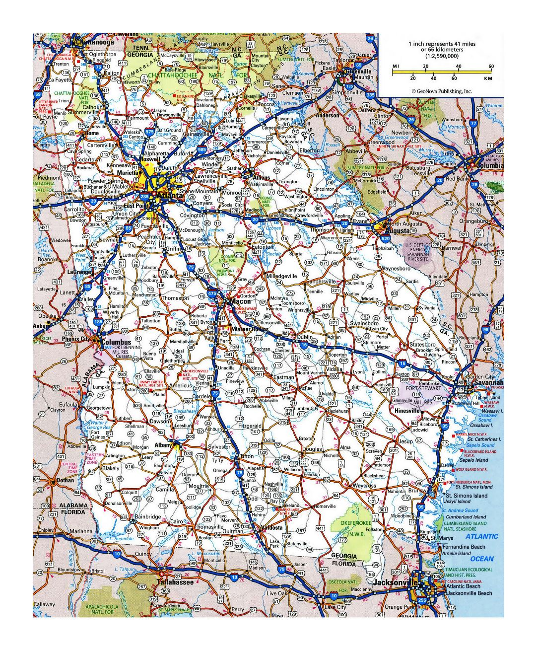 Large detailed roads and highways map of Georgia state