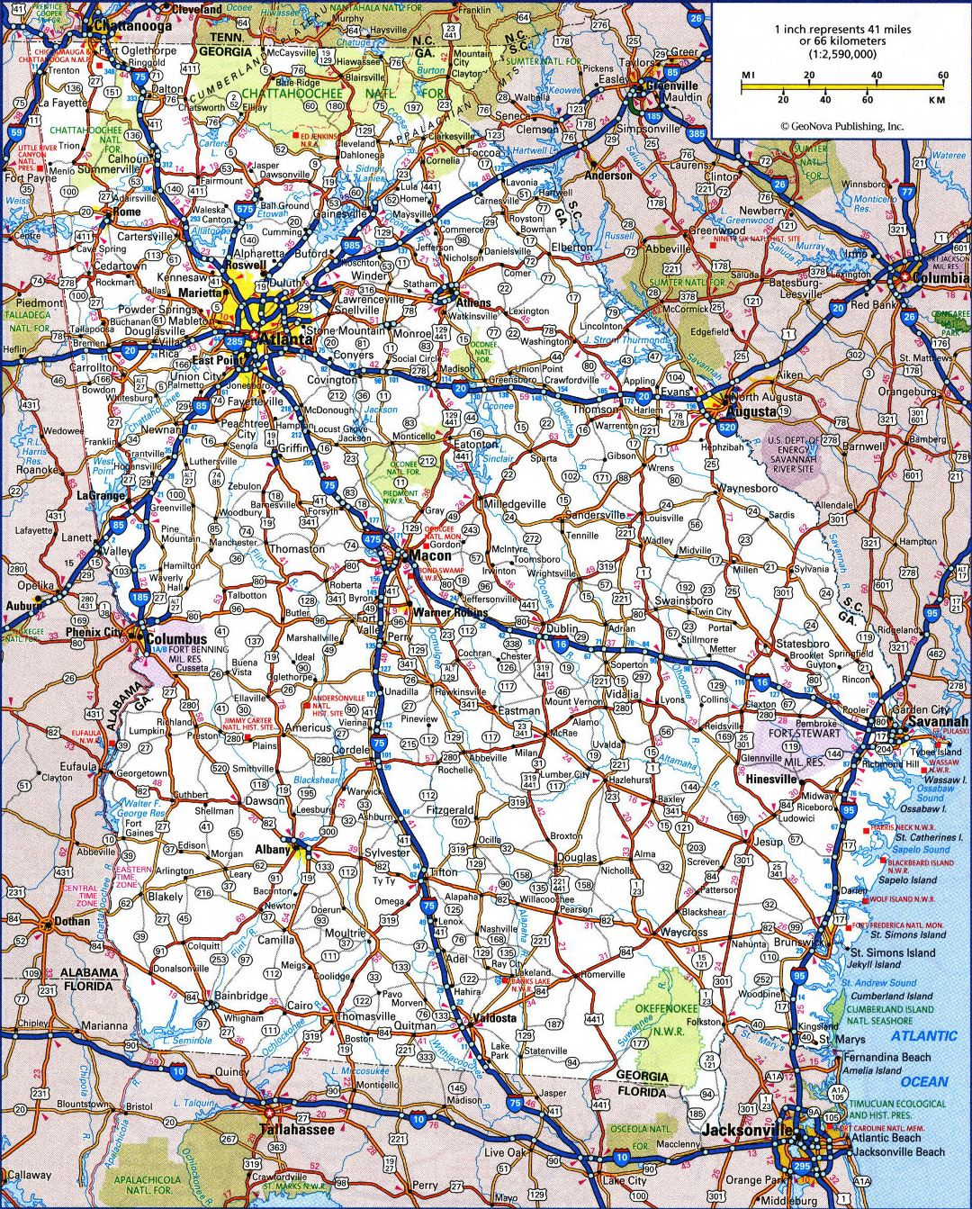 Large detailed roads and highways map of Georgia state with all cities and national parks