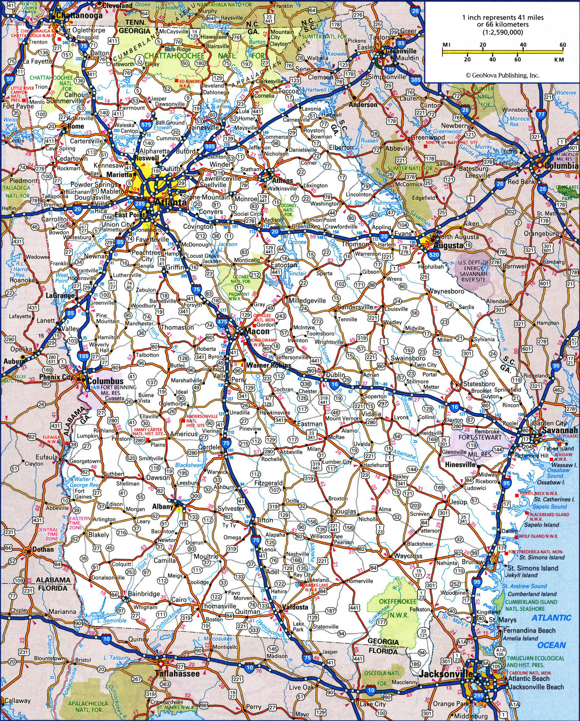 Large detailed roads and highways map of georgia state with all large detailed roads and highways map of georgia state with all cities and national parks publicscrutiny Choice Image