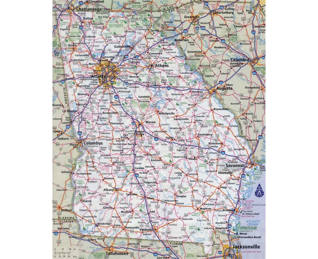 Large Detailed Roads And Highways Map Of Georgia State With All Cities