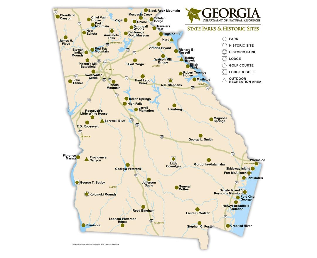 Maps of Georgia state Collection of detailed maps of Georgia state