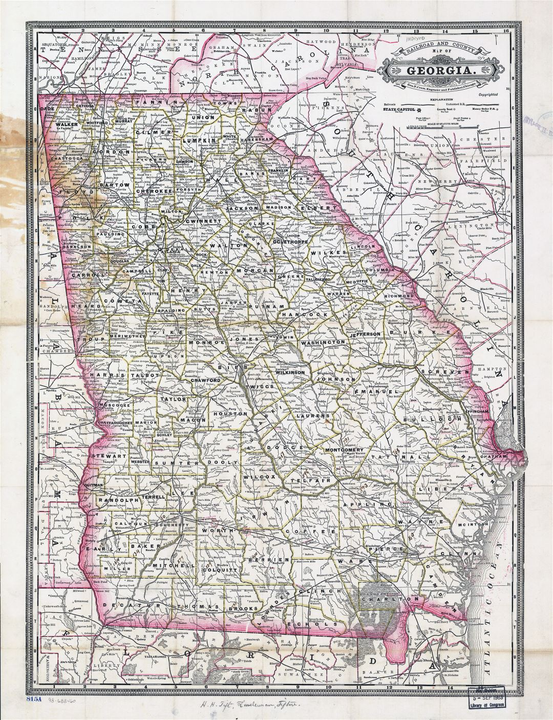 Large old administrative map of Georgia state - 1883