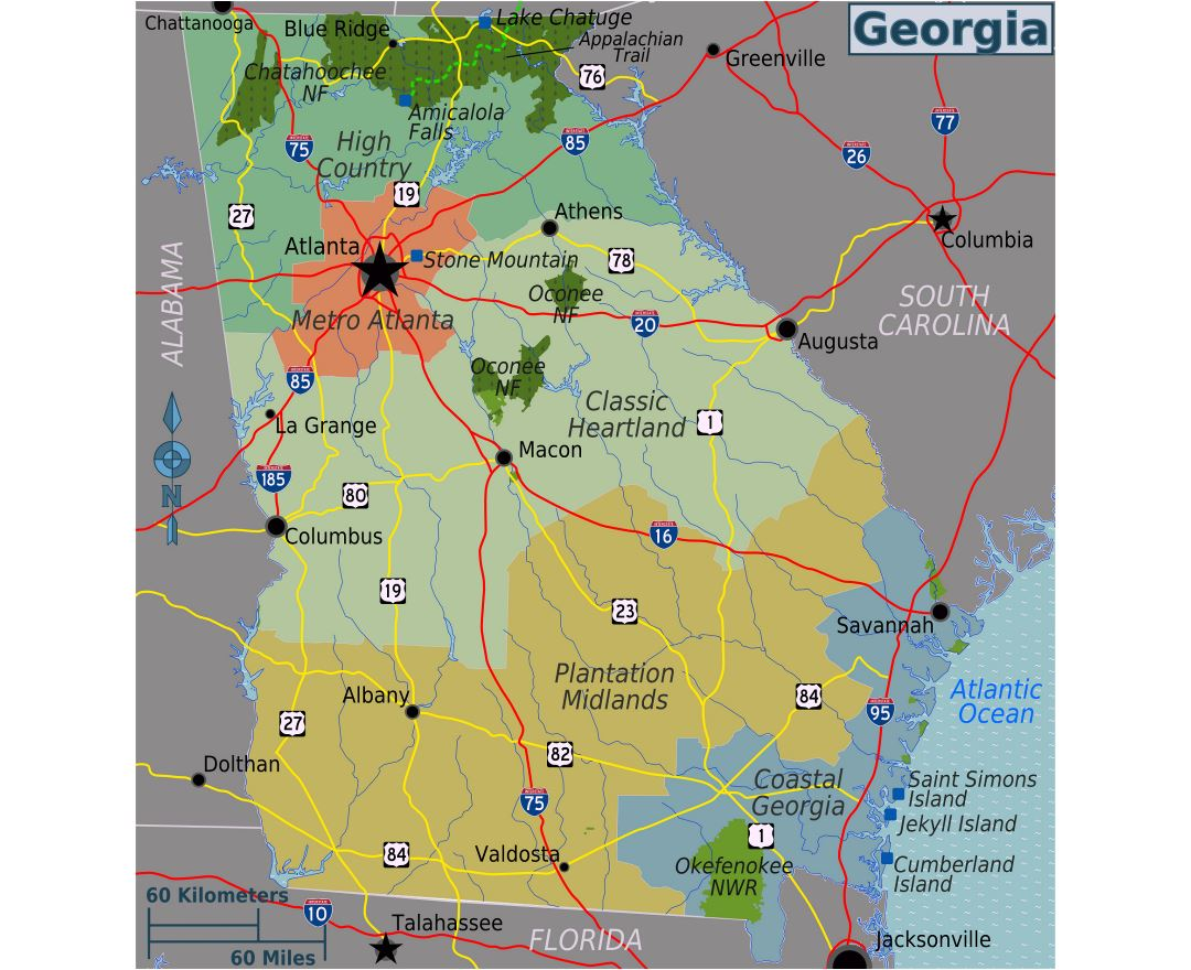 Large regions map of Georgia state
