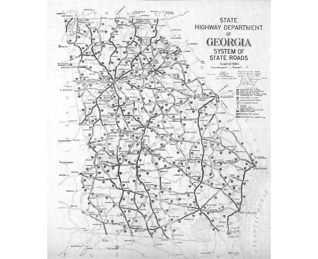 Old road system map of Georgia state - 1929