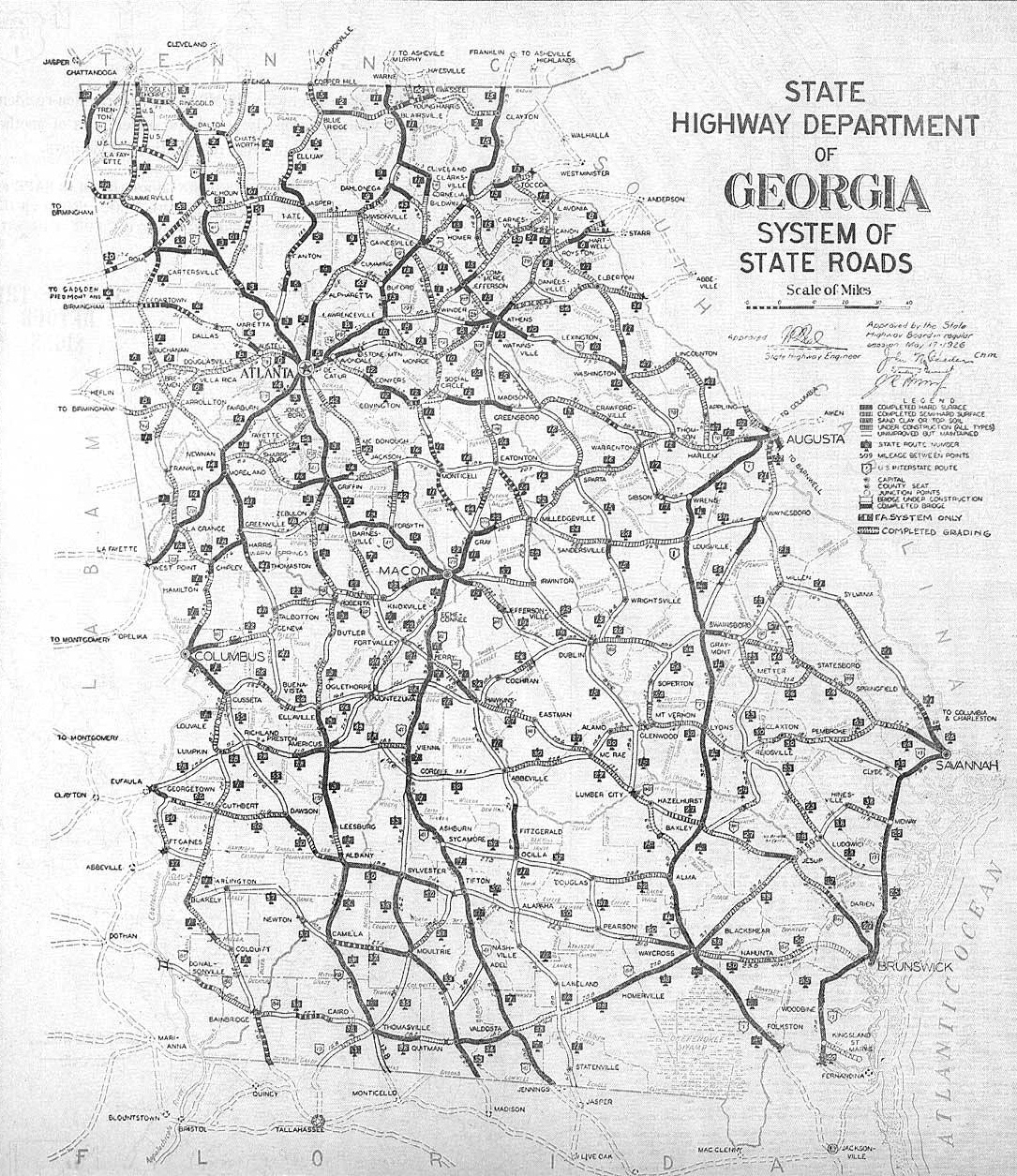 Georgia Map State.Old Road System Map Of Georgia State 1929 Georgia State Usa