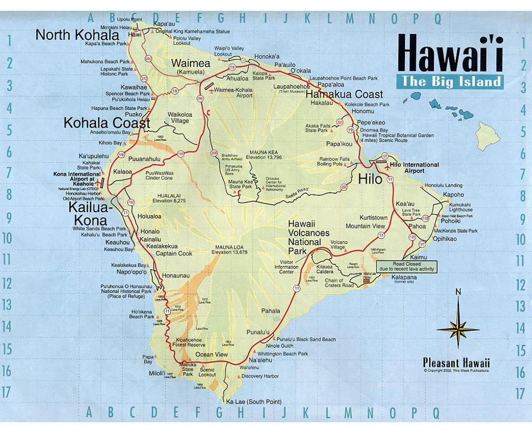 Detailed map of Big Island of Hawaii with roads and other marks