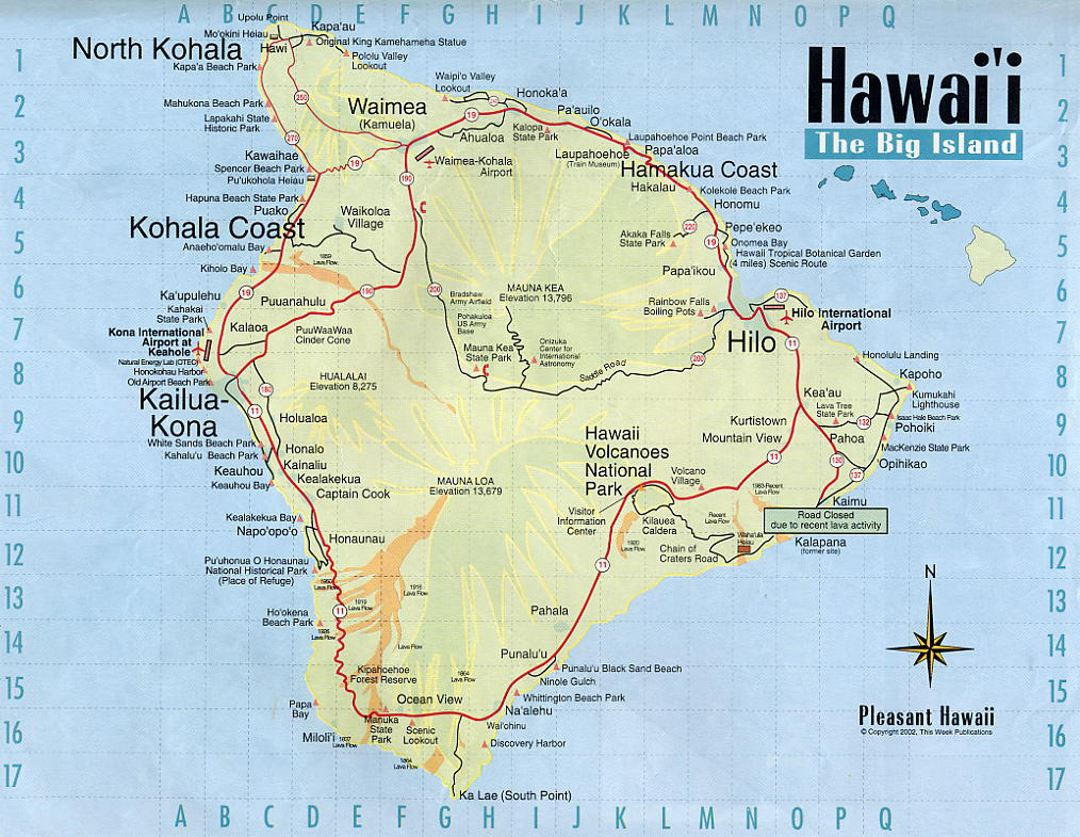 Detailed Map Of Big Island Of Hawaii With Roads And Other Marks - Map of united states and hawaii