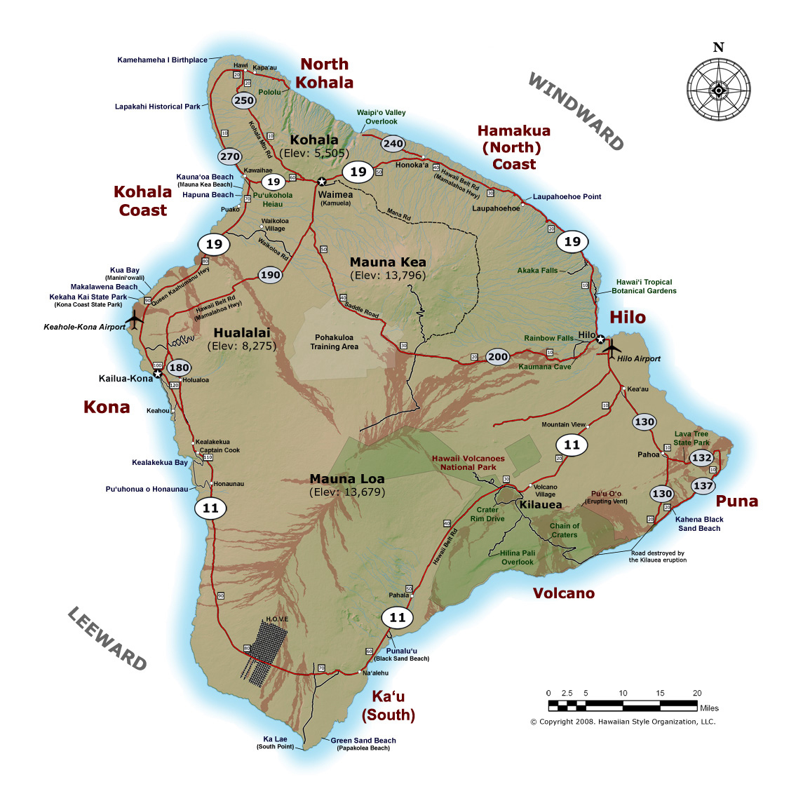 detailed map of big island of hawaii with roads cities and airports